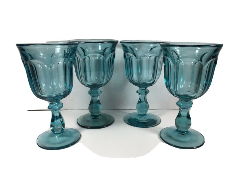 "Vintage IMPERIAL ""OLD WILLIAMSBURG"" Light Blue Water Goblets~ Set Of 4"