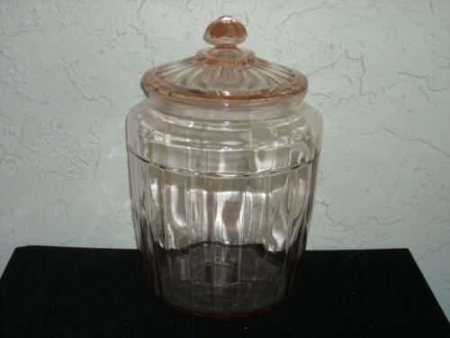 Pillar Optic Covered Pretzel Jar  Pink
