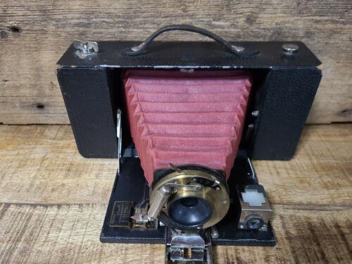 Antique 1905 Eastman Kodak Brownie A-3 Camera Red Bellows Shutter Fires