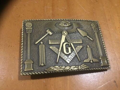 Vintage Freemason G Geometry Belt Buckle Solid Bronze Masonic Mason MINT CONDIT