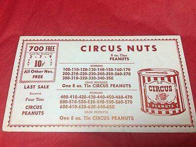 VINTAGE CIRCUS MIXED NUTS CAN CARDBOARD COUPON SUPER RARE PEANUTS