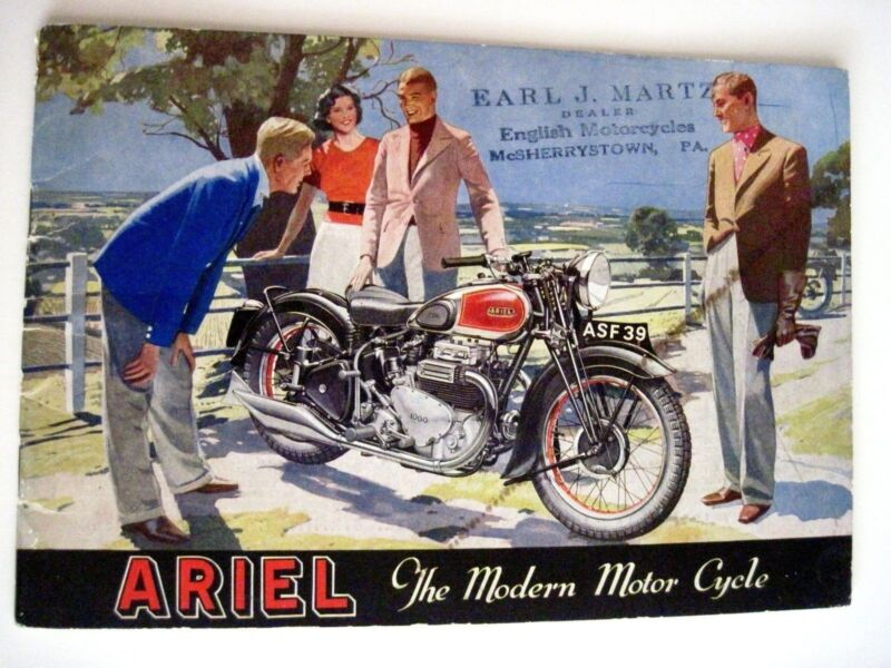 """Fantastic 1940 Advertising Catalog for """"Ariel Motorcycles"""" w/ Great Pictures *"""
