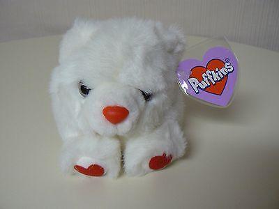 Puffkins Plush HUGS White Bear Plush #6679 SWIBCO Birthdate 2-13-98 NWT