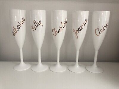 White Plastic Champagne Flute Glass Bridesmaid Gift Personalised In Rose Gold](White Plastic Champagne Flutes)