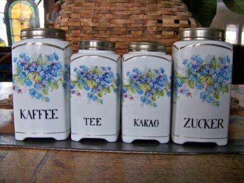 Gorgeous Set of Antique Kitchen Canisters Metal Lids