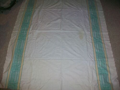 """Vintage Damask Tablecloth Green Yellow Off White 64"""" x 54"""""""