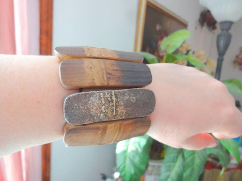 Signed Lou Zeldis Modernist Unisex Bamboo Sterling Bracelet Unique Collection