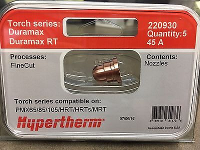 Genuine Hypertherm 220930 Nozzles 45a Powermax 65 85 105 Oem Hrtmrt 5 Pack