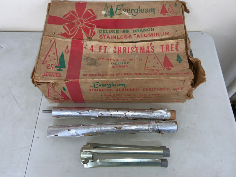 "Evergleam 4' Stainless Aluminum Christmas Tree in BOX w Stand ASC Vintage 48"" Ft"