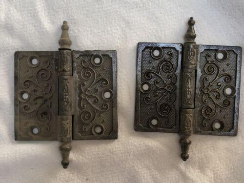 2 Antique Pat. Date 1877 Steeple Top Door Hinges Ornate Victorian Eastlake