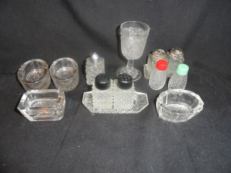 Pressed Glass Lot of Crystal Shakers & Salts & 1 Cordial