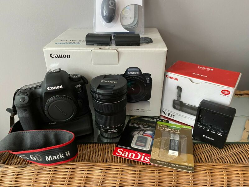 Canon EOS 6D Mark II Digital Camera - (Kit w/ EF 24-105mm STM Lens) Grip Bundle