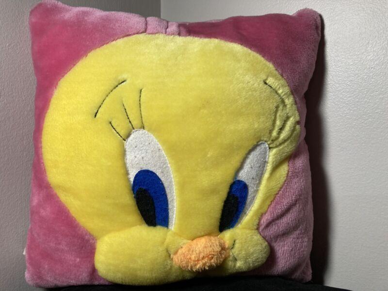 Vintage Tweety Bird Plush Throw Pillow Looney Tunes Warner Bros 2000 Pink