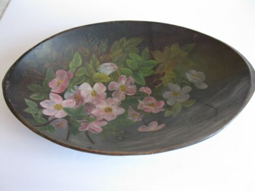 ANTIQUE PRIMITIVE FOLK ART WOODEN BOWL HAND PAINTED PINK DOGWOOD FLOWERS