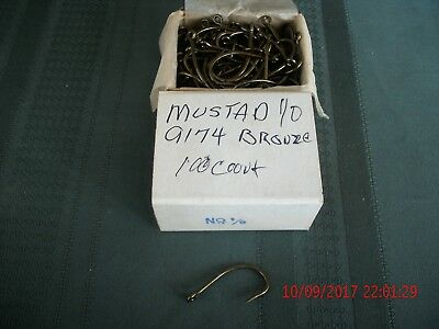 mustad 9174 size 1/0 bronze 3 times strong 100 count box best all around (Best All Around Fishing Lure)