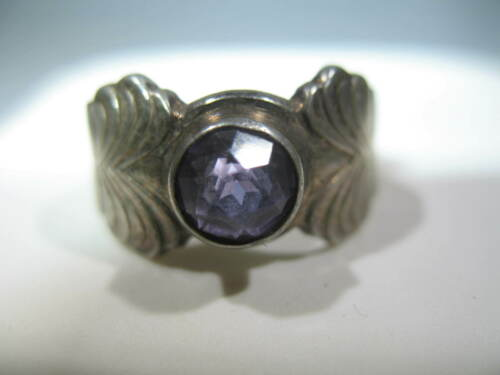 Vintage Soviet Russian 916 Silver 5g Ring Amethyst Stone Size 7-1/4 USSR