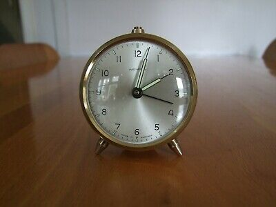 VINTAGE WEHRLE BRASS ALARM CLOCK MADE IN GERMANY - WORKING.