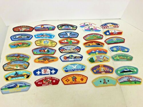 35 Different Boy Scout Council Patches 24 Different States HI WY 1989 Jamboree