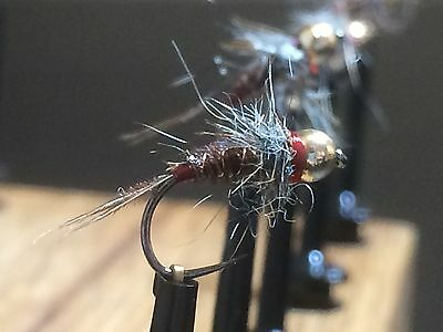 3x Polish pheasant tail nymph sz 16 tungsten bead fly fishing trout grayling