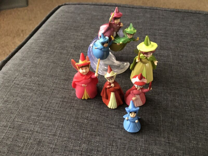 Disney Sleeping Beauty Fairy Godmothers Flora Fauna Merryweather Toy Figures