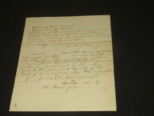 Lawyer Crime Legal paper 1866 court Indictment Sell Liquor no license Virginia