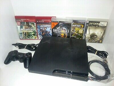 Sony Playstation 3 160gb Slim Console bundle. controller 5 games, and cables PS3