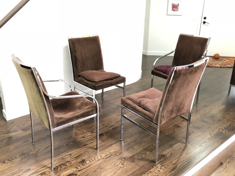 Mid Century Set Of Four Milo Baughman Dining Chairs Pierre Cardin Dillingham
