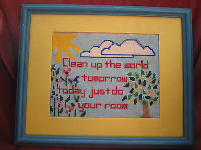 Original Vintage Needlework Cheerful Landscape Clean up the world …. your room