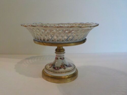 19th C. French Dore Bronze Decorated Porcelain Reticulated Compote