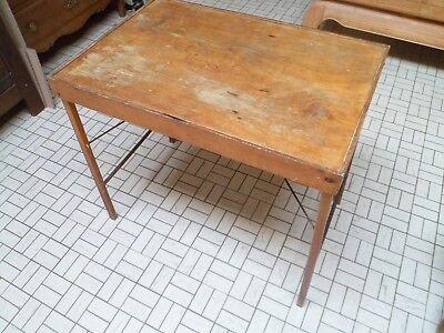 Vintage - Ancienne table de camping pliable en bois - 5 photos