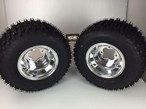 2 Rear Yamaha YFZ350 Banshee 350 Polished Aluminum Rims MASSFX Tires Wheels kit