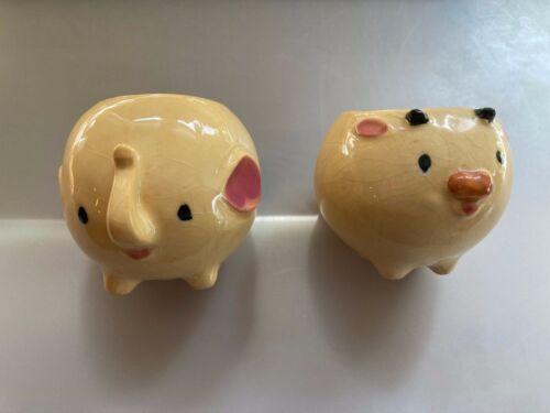2 Vintage Ceramic Egg Cups Elephant & Pig Round Shapes Footed 40