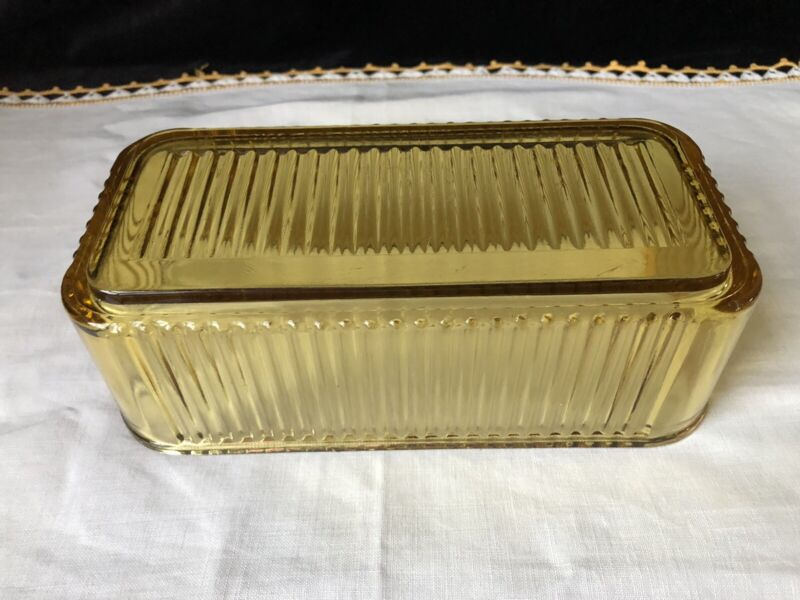 "VTG Depression Federal Glass Ribbed Amber Yellow Refrigerator Dish 8.5"" L No Lid"