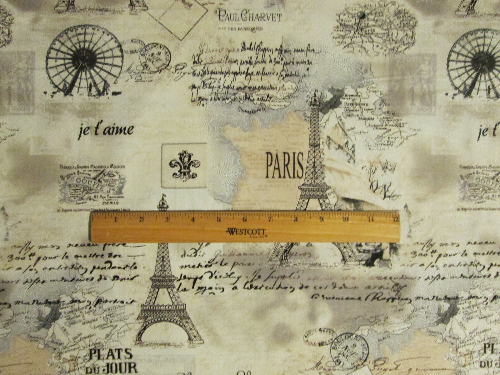 PARIS EIFFEL TOWER MAP SCRIBE TANS COTTON FABRIC BTHY - Paris map fabric