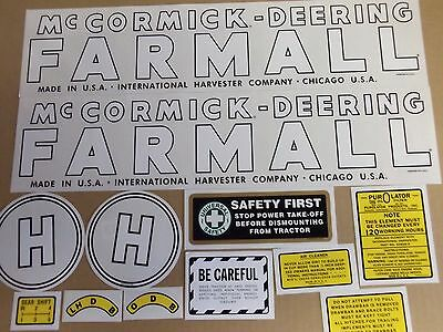 Farmall Mccormick Deering Model H Decals. Mylar. 1939-1944. See Details