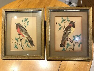 A PAIR OF ANTIQUE FEATHER ART PAINTINGS FROM MEXICO