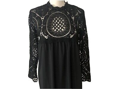 Black Abaya With Lace Sleeves And Collar Size M-L