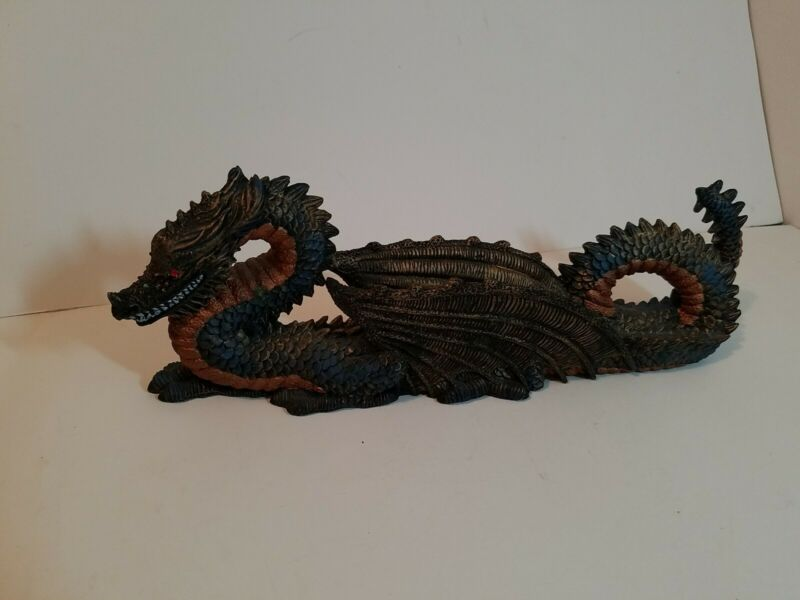 Green and Gold Dragon Stick Incense Holder/ Ash Catcher with Red Crystal Eyes