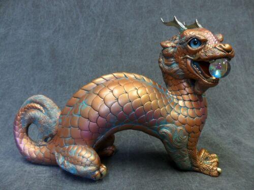 Windstone Editions NEW * Copper Patina Oriental Moon Dragon * Statue Figurine