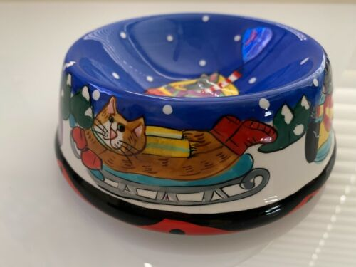 Catzilla Winter Scene Ceramic Cat Bowl By Candace Reiter