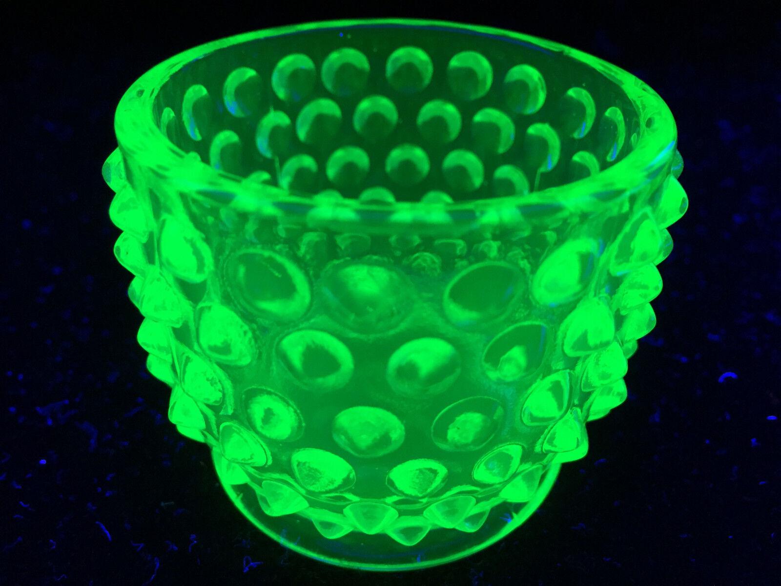Green Vaseline Glass Hobnail Sugar Mustard Bowl Candy Uranium Dish Toothpick Art - $5.95