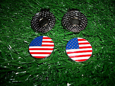 Golf Hat Clips with American Flag Ball Markers - New 2 PCS