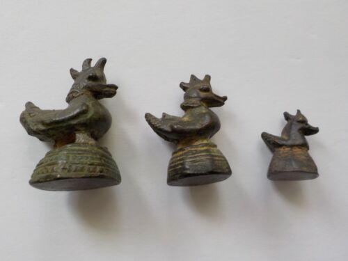 Set/3 Antique Burmese Bronze Mythical Duck Opium Weights