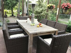 Restoration Hardware Patio Set (Teak Table with 8 chairs)