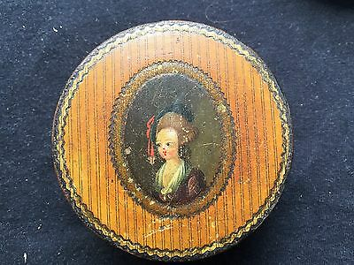 Antique French Enameled Wood Snuff Box w/Idealized Portrait Of A Lady c 1780 NR!
