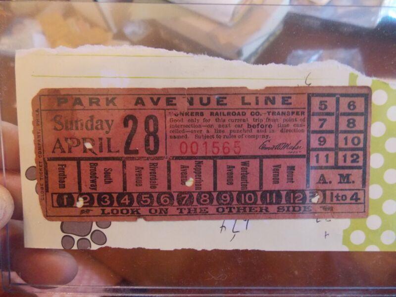 1907 Park Av Line + Yonkers NYC New York City Subway Ticket