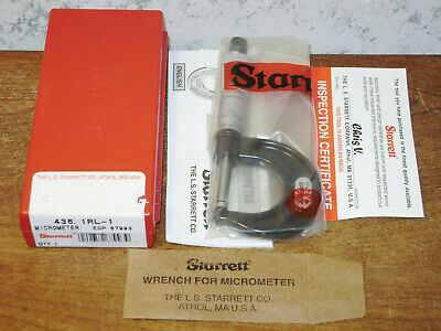 Starrett 0-1 Inch Micrometer No 436rl W Case - New Old Stock