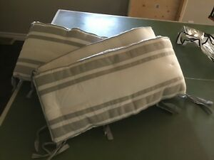 Pottery Barn crib skirt and bumper pad - Harper Grey and white