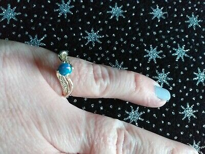 BOXED IN GOOD CONDITION 925 STERLING SILVER OPAL SOLITAIRE RING, SIZE M