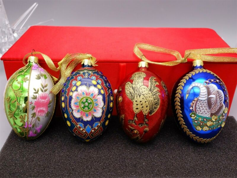 Joan Rivers Russian Style Egg Ornaments Set of 4